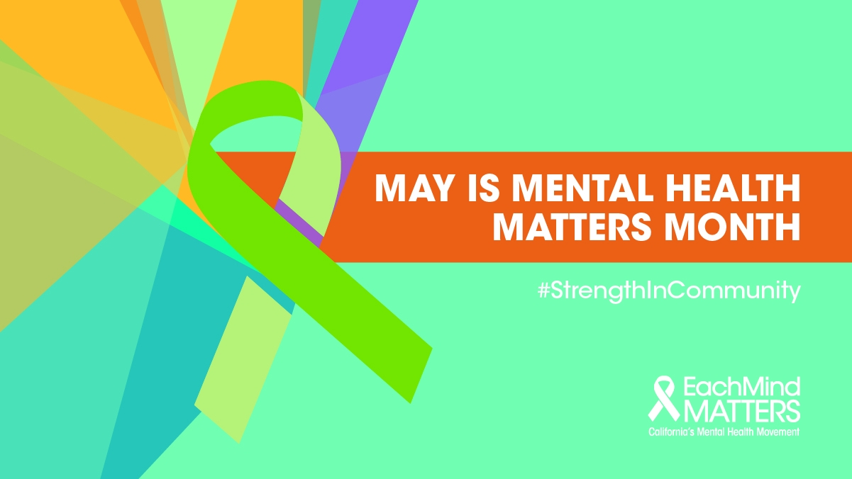 May is mental health matters month graphic with green ribbon